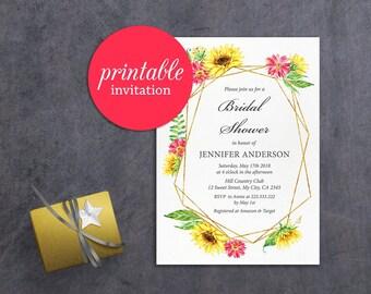 Sunflower Bridal Shower Invitation Printable Floral bridal shower Invitation rustic fall summer bridal shower invite geometric autumn