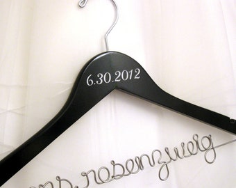 Personalized Bridal Hanger - MADE in ST. LOUIS - Wedding Date included, Name in Wire - Suspended Moments