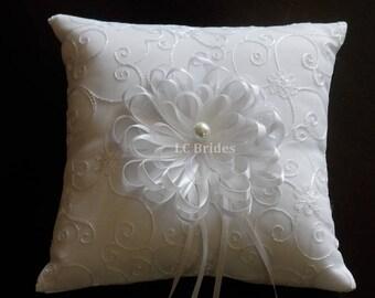 Wedding Ring Bearer Pillow Ribbon Flower