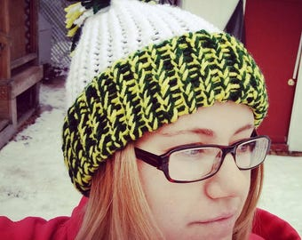 Adult Winter Hat / Green / Yellow / Sports Team / Beanie / Accessory / Cold Weather Apparel / Knitted