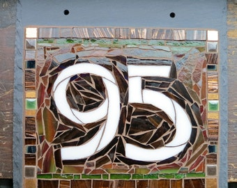 House Number Arts and Crafts Style on Slate 2 Digit 8x8