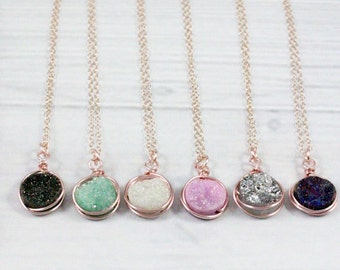 Druzy Necklace, Rose Gold Necklace, Dainty Necklace, Delicate Necklace, Raw Crystal Necklace, Rose Gold Filled, Sterling Silver, Gold, Stone
