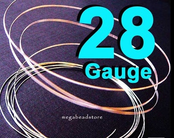 20 feet 28 Gauge Sterling Silver Wire Round Dead Soft (DS)