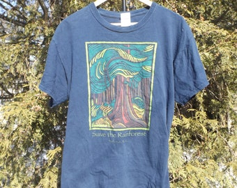 Tofino BC Save The Rainforest Tshirt 90s Tee Boyfriend T-shirt British Columbia Graphic Tshirt 90s 80s Clothing Size LARGE Comfy Rainforest