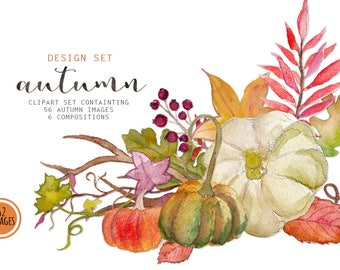 "Clipart: ""AUTUMN""  hand painted watercolor fall leaves and pumpkins, 62 clipart 300 dpi PNG  files (5271)"