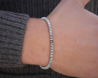 Men's Bracelet Hematite Mens Beaded Bracelet Mens 4mm Beads Bracelet Men's Surfer Bracelet Boyfriend Gift Mens Bracelet Husband Gift For Him