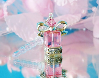 Pink Crystal iPhone Dust Plug Charm Pink Cell Phone Bling