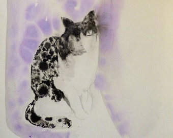 Purple Cat, original drawing on art paper 29x42 cm, great gift for animal lover, cat lady, girlfriend, mother, Christmas wall art from Paris