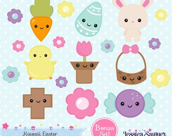 INSTANT DOWNLOAD - Kawaii Easter Clipart and Vectors for personal and commercial use