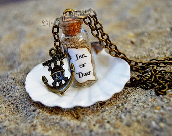 Jar of Dirt Necklace and Bronze Pirate Anchor Charm Disney Pirates of the Caribbean Jack Sparrow Tia Dalma, Pirate Bound, Pirate Cosplay
