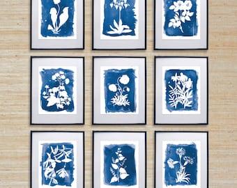 Series of 9 Cyanotype Inspired Watercolor Prints - SMc. Originals, watercolor painting, rustic, modern, original artwork, nature, decor
