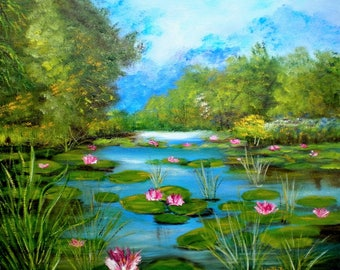 """Painting on canvas """"Lily"""""""