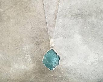 Aquamarine Brushed Silver Necklace