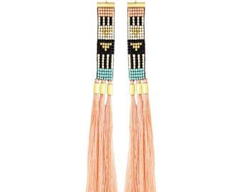 seed bead earrings, woven earrings, long tassel earrings, ethnic earrings, african earrings, extra long earrings, pink  beaded earrings