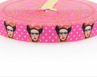"Pink Frida  3/4"" elastic ribbon."