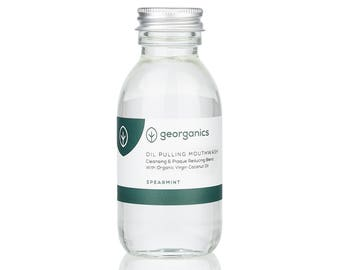 Natural Oil Pulling Mouthwash - Georganics Organic Coconut Oil Pulling Whitening Mouthwash - Spearmint