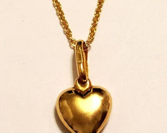 "14k solid yellow gold(15mm)heart necklace(16""/18""/20"")"