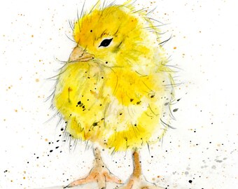 Chick Greeting Card -  Cute Yellow Chicken Card, Blank Inside