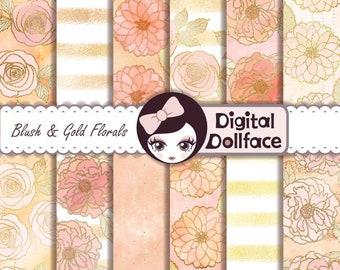 Blush and Gold { Bridal Shower Floral } Digital Paper, Printable: Wedding Scrapbook Paper, Digital Background