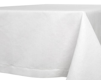 White Linen Tablecloth | Tablecloth | White Table Cover | Table Cloth | Tablecloth | Table Linen | Off-White Tablecloth | Hemstitched Hem