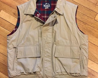 Vintage Woolrich Vest - Wool Lined Tan Outdoors Vest - Camping Hunting Fishing Utility Vest - Retro 70s Red Plaid - Made in USA - Men's L