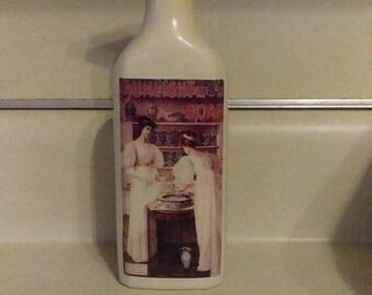 Vintage  Glass Liquor Bottle Pump Soap Dispenser