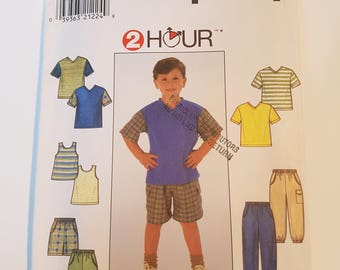 Vintage Simplicity Sewing Pattern 7990 Child's Pants or Shorts and Knit Top and Tank Top in Size 3, 4, 5, 6