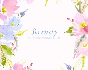 Watercolour Flower Clipart - Serenity