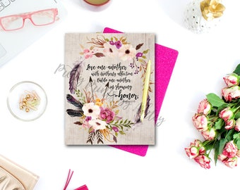 Romans 12:10, Print, watercolor, wall art, bible verse print, scripture, typography, floral, wreath, give thanks