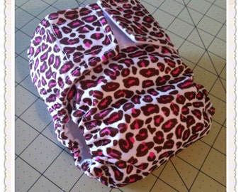 Newborn Pocket diaper in Sassy Cheetah  print
