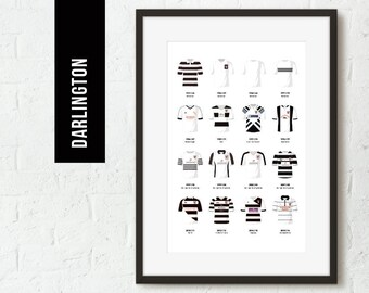 ICONIC Darlington Classic Kits Team Print, Football Poster, Football Gift, FREE UK Delivery