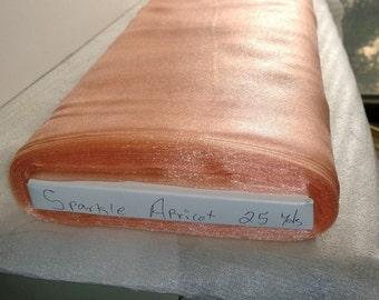 "Sparkle Organza Fabric - Apricot, 45"" x 1 Yard"