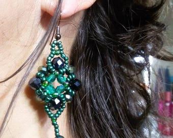 """""""Elizabeth"""" Baroque style earrings, crystal earrings, beaded earrings, pendant earrings, elegant earrings, green earrings"""