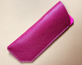 Leather Glasses Case, Spectacle Case, Sunglasses case, Eyeglass case, Sunglass Case, PINK-PINK