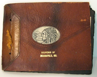 Vintage Album Postcards Indianapolis Indiana Tourist Souvenir Leather