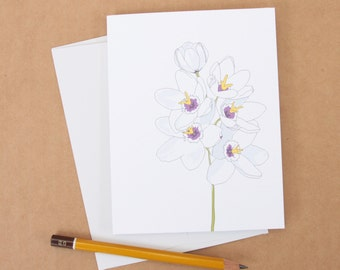White Flower Note Card / Floral Stationery / Flower Illustration / Hand Drawn Cards / Note Card For Gardener / Any Occasion Note Card