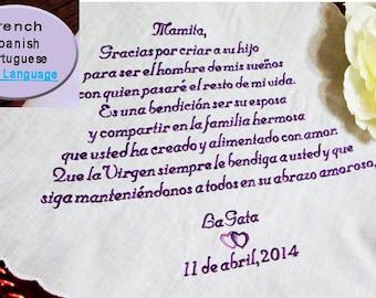 ANY LANGUAGE Custom Embroidered Handkerchief, 30-60 Words - Spanish  Handkerchief - Foreign Language