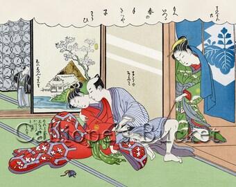 The new furisode - 振袖新造, From the series: The Amorous Adventures of Mane'emon Shunga Ukiyo-e woodblock print.