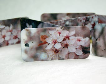 """Cherry Blossom Gift Tag set of 10 Mixed Print Seed Paper hangtags 3"""" long by 1.5"""" wide"""
