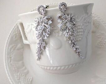 Cubic zirconia drop earrings - Raina