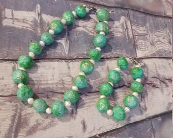 Hand made bead necklace and bracelet  fake turquoise ,Gift for Her,Green beads,Armour jewelry