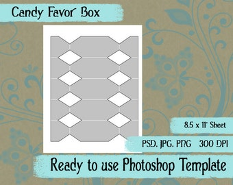 Party Favor Box Digital Collage Photoshop Template Candy Box
