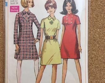 Vintage 1960's dress pattern size 12 - Simplicity 7757