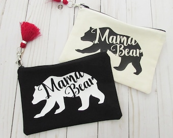 Cosmetic bag with Tassel - Mama Bear - Makeup Bag - Mother's Day gift - Personalized Mother's Day Gift - Medium