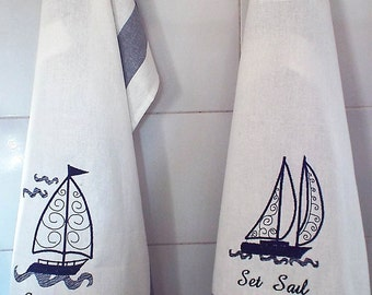 Set of 2 Embroidered Personalized 100% Cotton Tea Towels - Set Sail  - Nautical Boat Gift Kitchen Hostess Dinner Birthday Gift