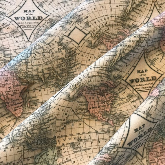 Old world map fabric bty cotton canvas beautiful weight and does old world map fabric bty cotton canvas beautiful weight and does not stretch 54 inches wide our exclusive design from internationalhome on etsy studio gumiabroncs Gallery
