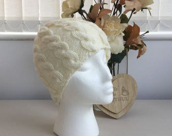 Handknit Cream Cable Beanie Hat -Ready to ship