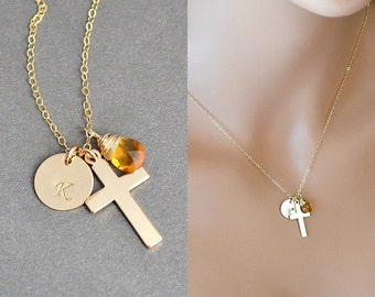 Initial Cross Necklace, Jesus Necklace, Crucifix Necklace, Initial and Birthstone, Faith Necklace, Silver Cross necklace