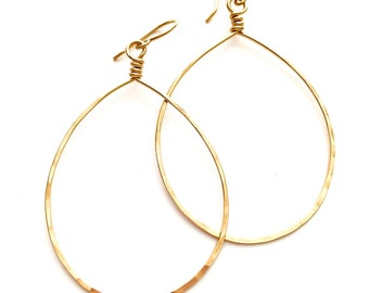 X-Large Gold Teardrop Hoop Earrings. 14k Yellow Gold Filled Hammered Hoops. Large Oval Gold Hoops