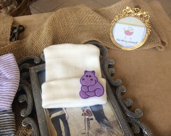 Hippo Hospital hat Newborn Beanie, infant, Newborn, Purple hippo, White beanie, jungle purple hippo Hospital Hat.